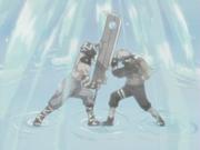 Zabuza using his sword