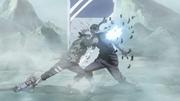 Zabuza impaled by Kakashi