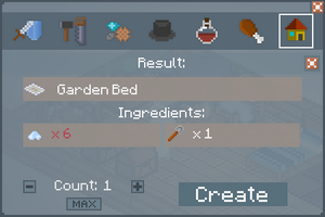 Garden Bed - Crafting Screen