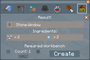 Stone Window - Crafting Screen