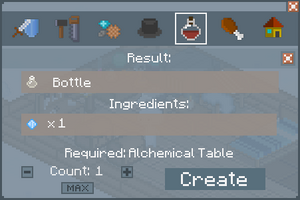 Bottle - Crafting Screen