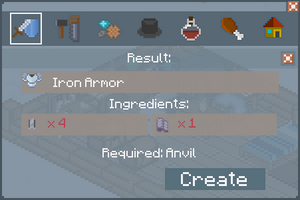 Iron Armor - Creation Screen