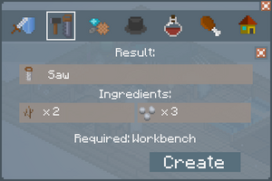 Saw - Crafting Screen