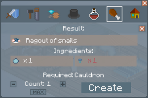 Ragout of Snails - Crafting Screen