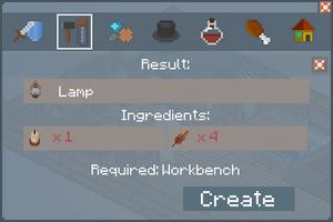 Lamp - Crafting Screen