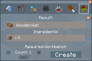 Wooden Wall - Crafting Screen