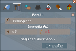 Fishing Rod - Crafting Screen