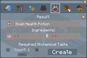 Small Health Potion - Crafting Screen