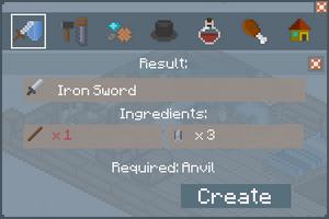 Iron Sword - Creation Screen