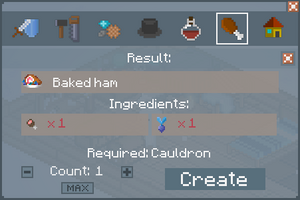 Baked Ham - Crafting Screen