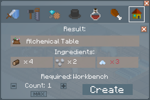 Alchemical Table - Crafting Screen