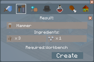 Hammer - Crafting Screen