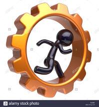Gearwheel-man-character-running-inside-gear-wheel-businessman-rotate-cogwheel-stylized-black-human-cartoon-guy-hamster-person-worker-business-activity-TDB3B9