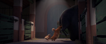 Lupe pushing Ferdinand in by his butt