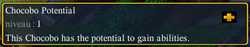 Chocobo potential tooltips