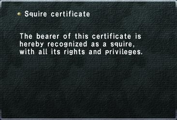 Squire Certificate