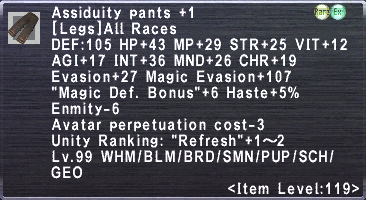 Assiduity pants +1