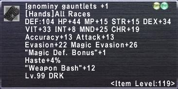Ignominy Gauntlets +1
