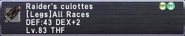 Raider's Culottes