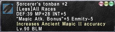 Sorcerer's Tonban +2 Augmented