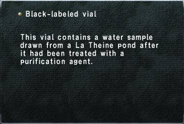 Black-labeled vial