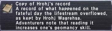 Hrohj's Record