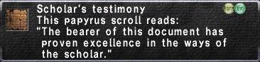 Scholar testimony