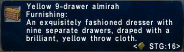 Yellow 9drawer almirah