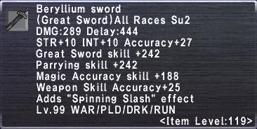 Beryllium Sword