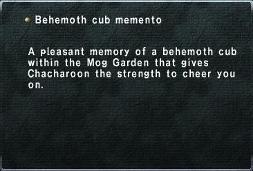 Behemoth cub memento