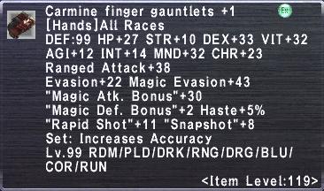 Carmine Finger Gauntlets +1
