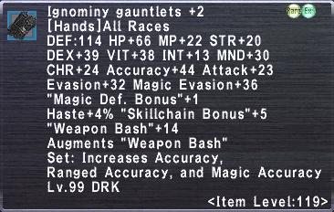 Ignominy Gauntlets +2