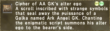 Cipher of AA GK's alter ego