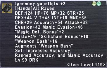 Ignominy Gauntlets +3
