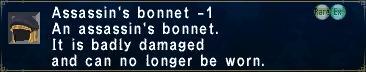 Assassin's Bonnet Minus 1