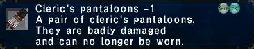 Cleric's pantaloons minus 1
