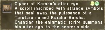 Cipher of Karaha's alter ego