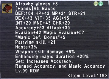 Atrophy Gloves +3