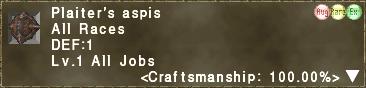 Plaiter's aspis 100.00%
