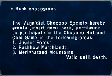 Key item bush chocograph