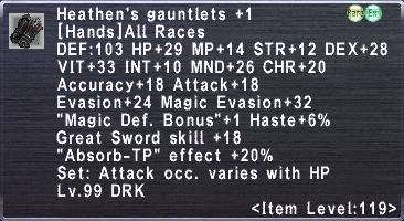 Heathen's Gauntlets +1