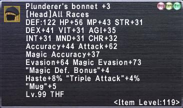 Plunderer's bonnet +3