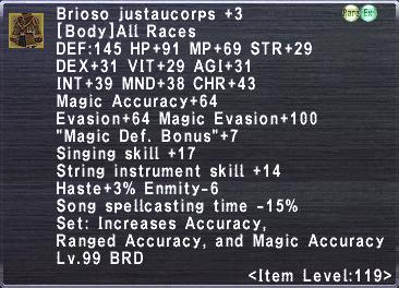 Brioso Justaucorps +3