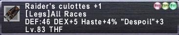 Raider's Culottes +1