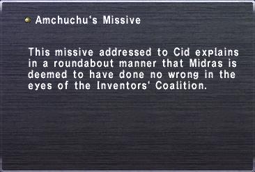 Amchuchu missive
