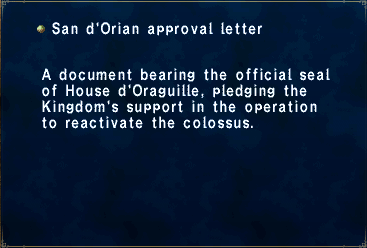 San d'Orian approval letter