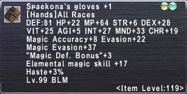 Spaekona's Gloves +1