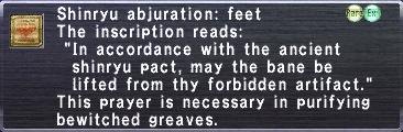 Shinryu abjuration feet