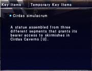 Cirdas simulacrum key item