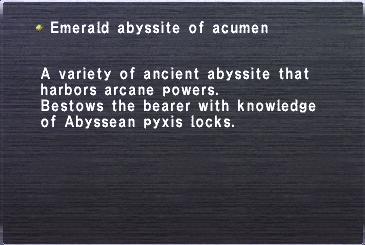 Emerald abyssite acumen